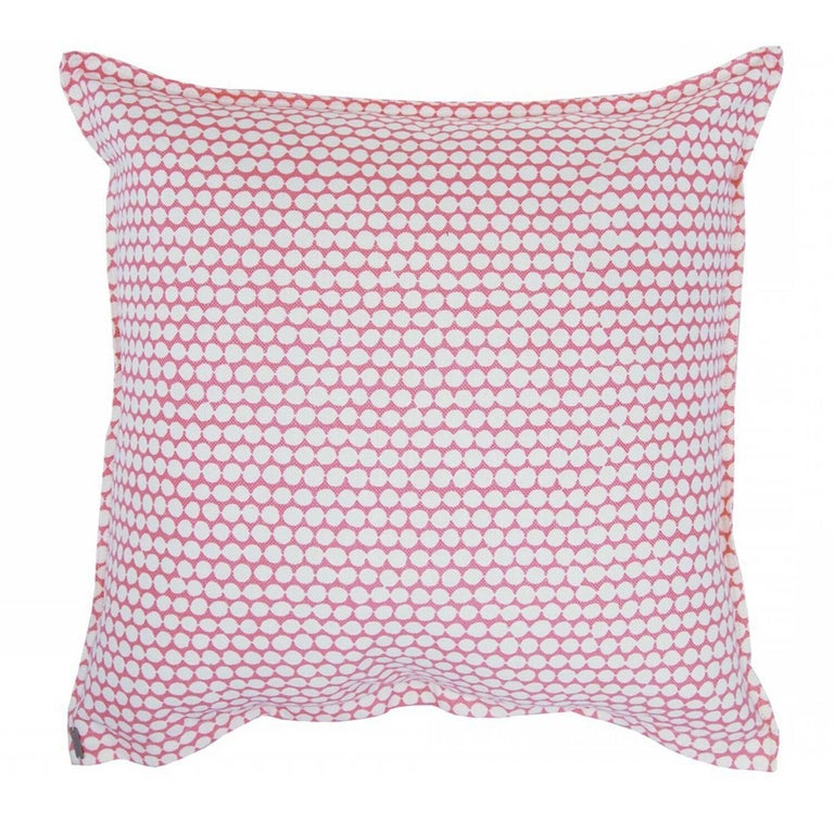 Rose Checker on Oyster Cotton Linen Pillow For Sale