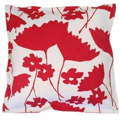 Scarlet Cosmos on Cotton Canvas Pillow
