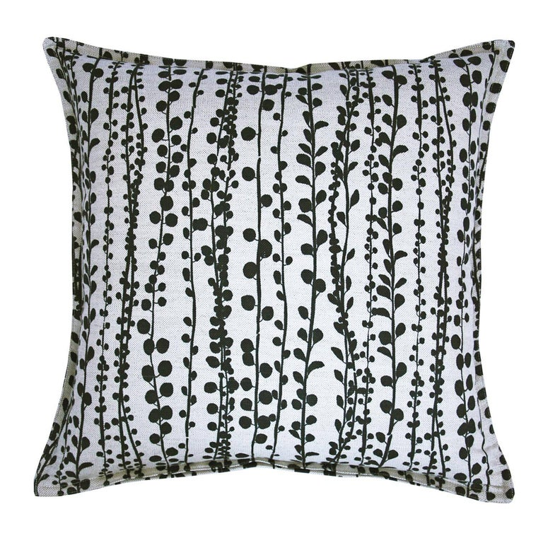 Slate Pearl on Wheat Cotton Linen Pillow For Sale