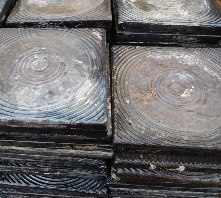 200 heavy and big-size tiles from the 1960s. Both sides to use. About the surface: The additions of silverchloride, cobalt-oxide and baked by high temperatures made the surface toward organic, deeply glazy colors, like iron-oxide, black-,blue- and