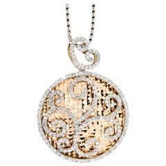 2.00 Carat 14 Karat White Yellow Gold Diamond Round Swirl Disk Pendant Necklace