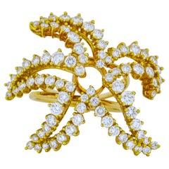 2.00 Carat 18 Karat Yellow Gold Diamond Starfish Fashion Statement Ring