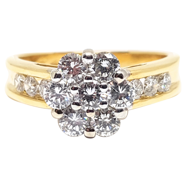 2.00 Carat 18 Karat Yellow White Gold Diamond Cluster Ring