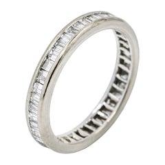 2.00 Carat 18 Karat White Gold Channel Set Baguette Diamond Eternity Band Ring