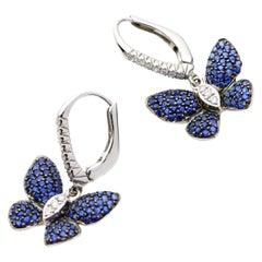 2.00 Carat 18 Karat White Gold Sapphire Diamond Butterfly Lever-Back Earrings