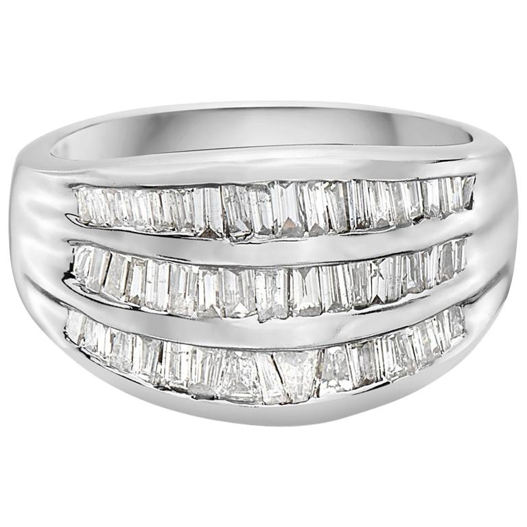 2.00 Carat 3-Row Channel Set Semi Eternity Diamond Band Ring For Sale