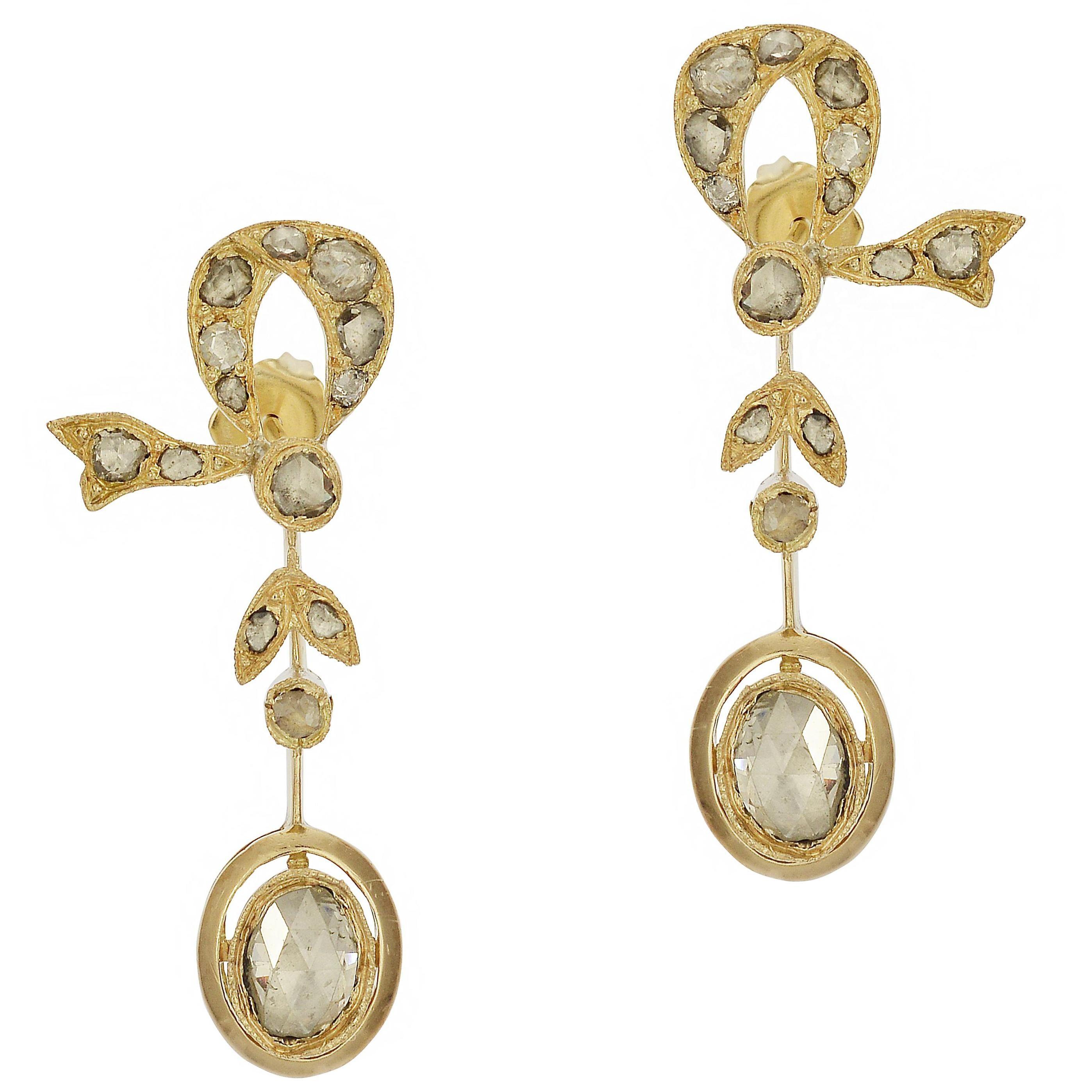 2.00 Carat Antique Rose Cut Diamond Bow Earrings