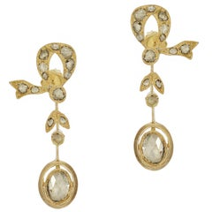 2.00 Carat Antique Rose Cut Diamond Bow Earrings