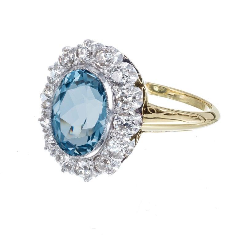 Oval Cut 2.00 Carat Aquamarine Diamond Halo Yellow White Gold Ring For Sale