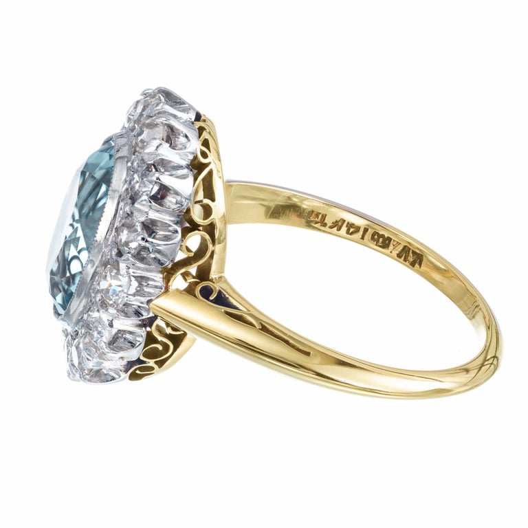 2.00 Carat Aquamarine Diamond Halo Yellow White Gold Ring In Good Condition For Sale In Stamford, CT