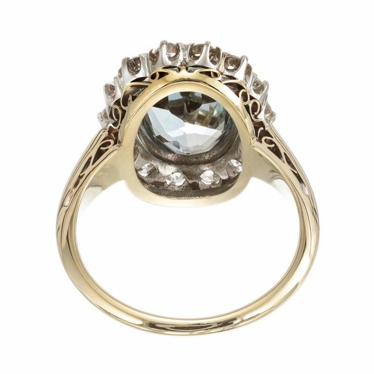 Women's 2.00 Carat Aquamarine Diamond Halo Yellow White Gold Ring For Sale
