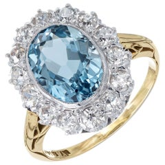 2.00 Carat Aquamarine Diamond Halo Yellow White Gold Ring
