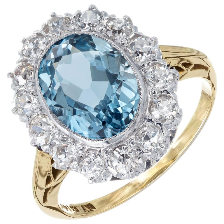 2.00 Carat Aquamarine Diamond Halo Yellow White Gold Ring For Sale