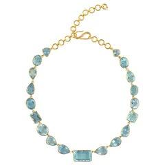 Ico & the Bird Fine Jewelry Aquamarine Diamond 'Jali' 22 Karat Gold Necklace