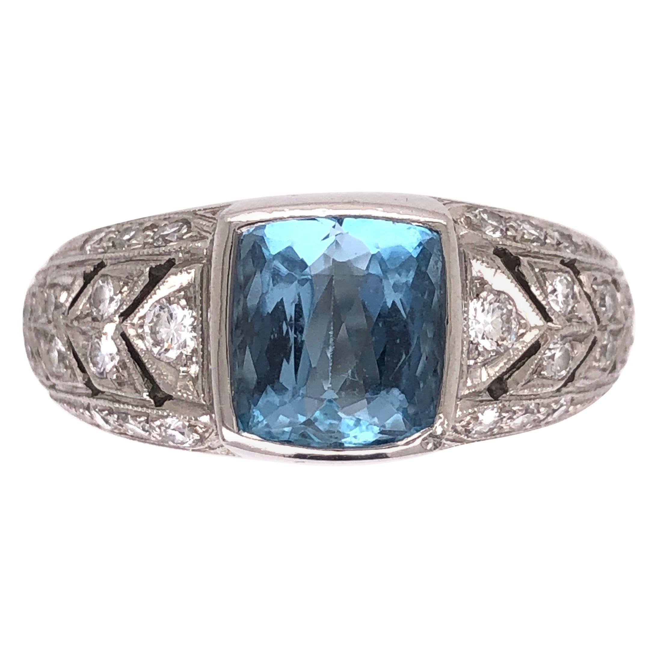 2 Carat Aquamarine Diamond Platinum Designer James Fine Ring Estate Fine Jewelry