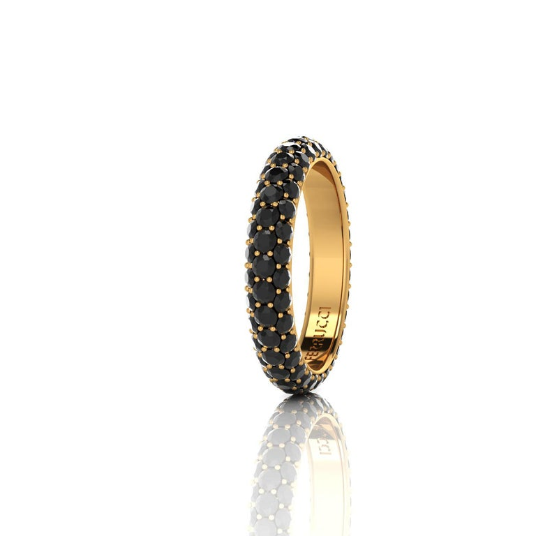 FERRUCCI diamond pave' band, a wrap of sparkling black diamonds for an approximate total carat weight of 2.00 carat, hand made in New York City with the best Italian craftsmanship, conceived in 18k yellow gold. Classic, sophisticated, gorgeous look,