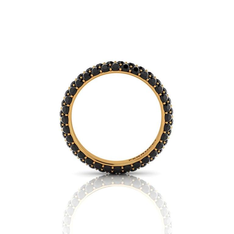 Modern 2.00 Carat Black Diamonds Pave Ring 18 Karat Yellow Gold For Sale