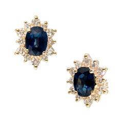 2.00 Carat Blue Oval Sapphire Diamond Halo Stud Earrings