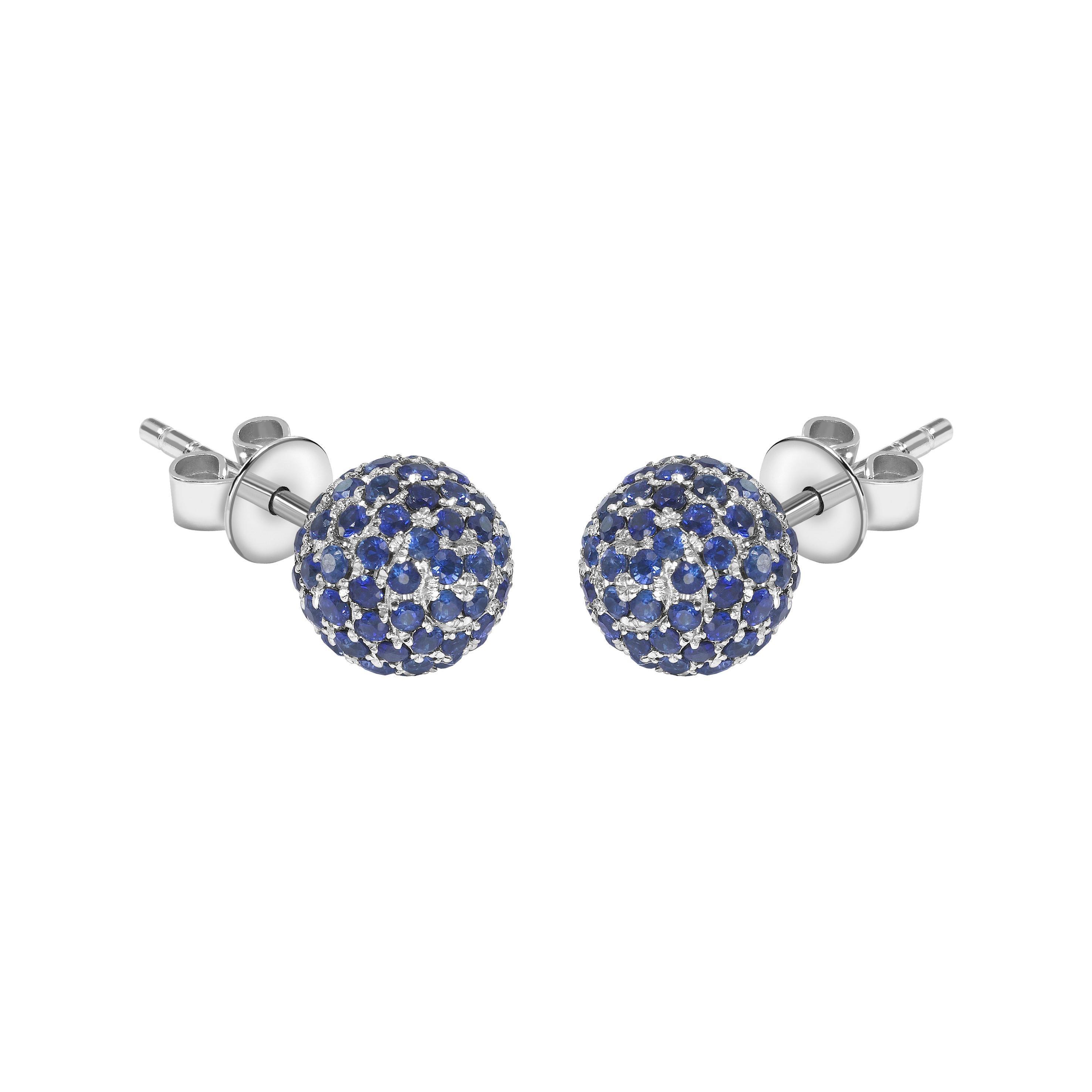 2.00 Carat Blue Sapphire 18 Karat Gold Pave Set Diamond Stud Earrings