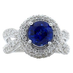 2.00 Carat Blue Sapphire and Diamond Cocktail Ring