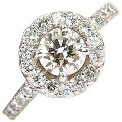 2.00 Carat Brilliant Round Full Cut Diamond Ring Halo 14 Karat