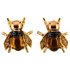 "2.00 Carat Citrine 0.24 Carat Diamond Yellow Gold Stud Dangle ""Bees"" Earrings"