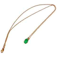 2.00 Carat Colombian Emerald Solitaire Pendant Necklace 18 Karat Rose Gold