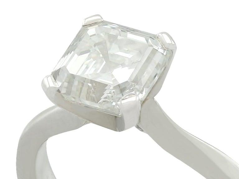 Asscher Cut 2.00 Carat Diamond and Platinum Solitaire Engagement Ring For Sale