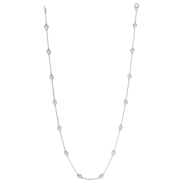 2.00 Carat Diamond by the Yard Necklace G SI 14 Karat White Gold 14 Stones For Sale