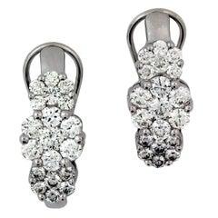 2.00 Carat Diamond Cluster White Gold Earrings