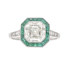 2.00 Carat Diamond Emerald Platinum Engagement Ring
