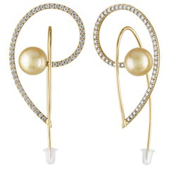 2.00 Carat Diamond Light Golden Yellow South Sea Pearls and Gold Earrings
