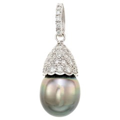 2.00 Carat Diamond South Sea Pearl White Gold Pendant