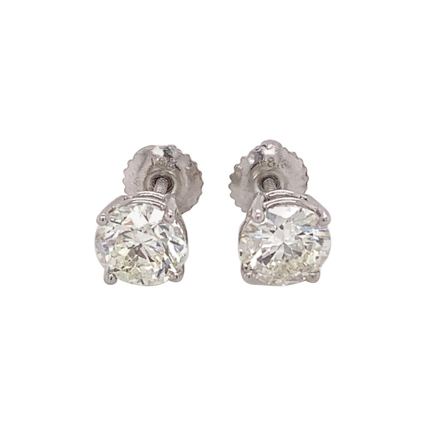 Certified 2.00 Carat Diamond Stud Earrings
