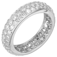 2.00 Carat Diamond White Gold Three-Row Eternity Ring