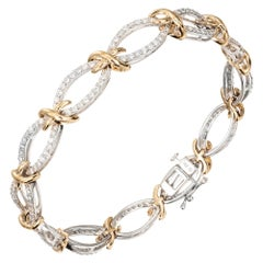 "2.00 Carat Diamond ""XO"" Style White Yellow Gold Bracelet"