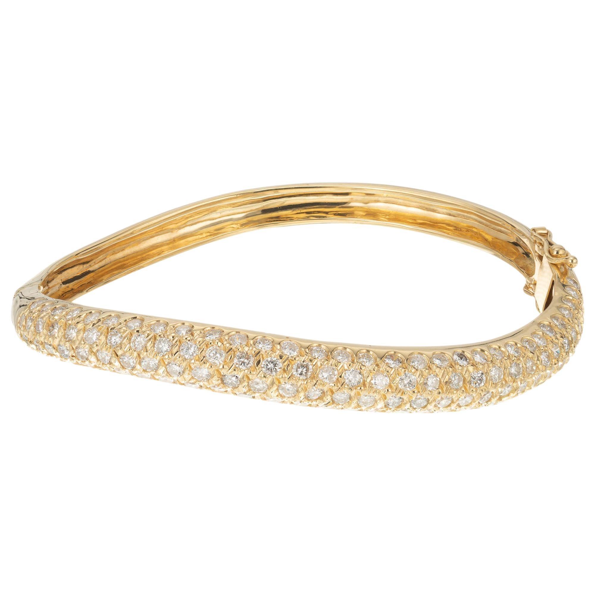 2.00 Carat Diamond Yellow Gold Swirl Bangle Bracelet
