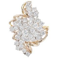 2.00 Carat Diamond Yellow Gold Swirl Cocktail Cluster Ring