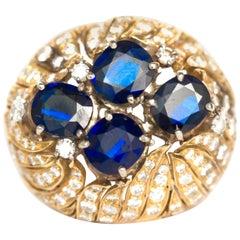 2.00 Carat Each Sapphire Yellow Gold Ring