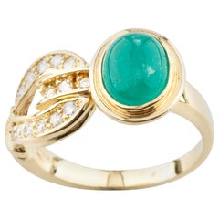 2.00 Carat Emerald Cabochon Ring Diamond Accents in Yellow Gold