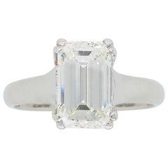 2.00 Carat Emerald Cut Diamond Solitaire Engagement Ring in Platinum