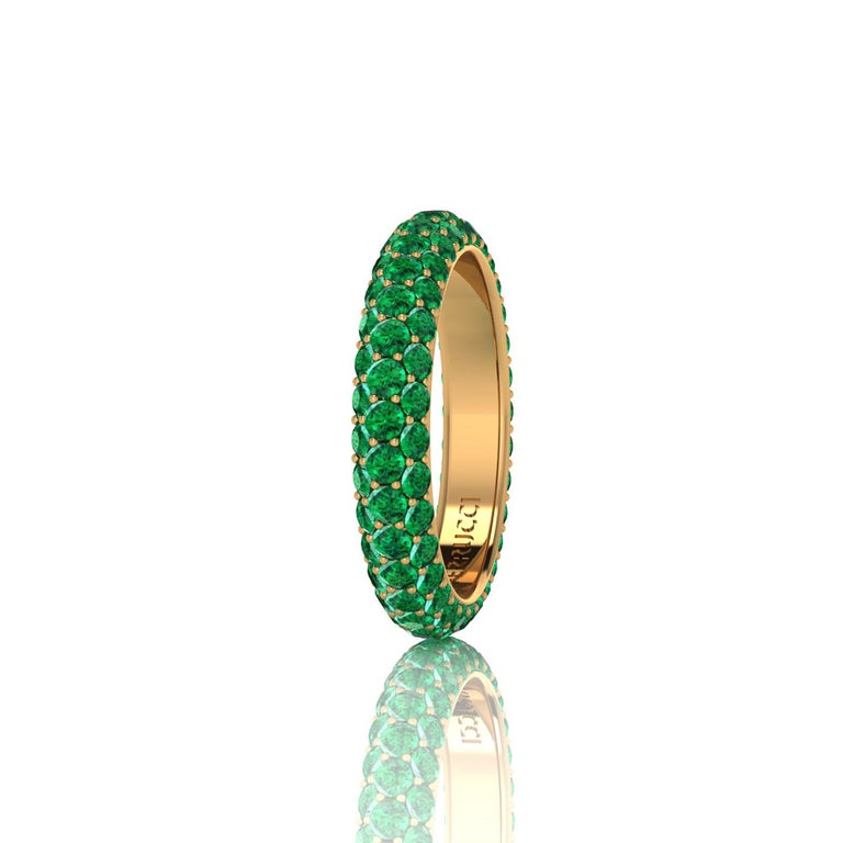 FERRUCCI green emerald eternity ring,  an approximate total carat weight of 2.00 carat, hand made in New York City with the best Italian craftsmanship, conceived in 18k yellow gold. Classic, sophisticated, gorgeous look, everlasting in time