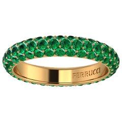 2.00 Carat Emeralds Pavé Eternity Ring in 18 Karat Yellow Gold