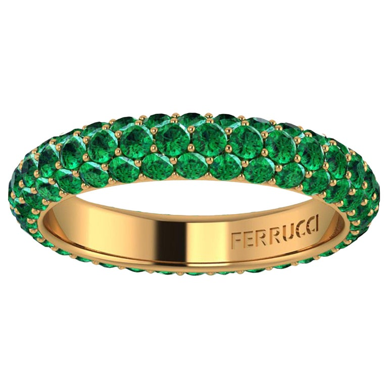 2.00 Carat Emeralds Pavé Eternity Ring in 18 Karat Yellow Gold For Sale