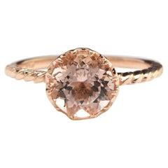 2.00 Carat Exquisite Natural Morganite 14 Karat Solid Rose Gold Ring