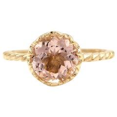 2.00 Carat Exquisite Natural Morganite 14 Karat Solid Yellow Gold Ring