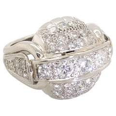 2.00 Carat French Platinum Diamond Bombe Cocktail Ring