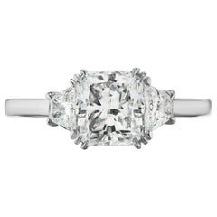 2.00 Carat GIA E Color Radiant Cut Diamond with Trapezoids in Platinum