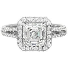 2.00 Carat GIA Square Emerald Cut Diamond Engagement Ring with Halo