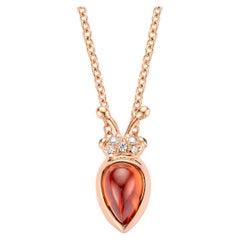 2,00 Carat Mandarin Garnet 18 Karat Lucky Beetle Diamond Necklace